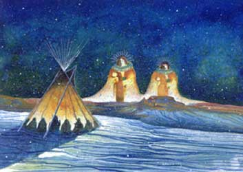 Winter dawn ceremony inside the teepee by Virgil Nez