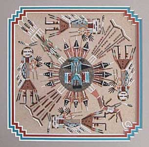 A sand painting by Alvina Begay (Navajo)